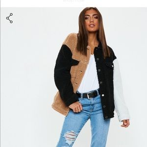 NWT misguided color block fuzzy jacket